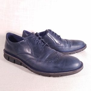 Ecco Jeremy Blue Washed Leather Wingtip Oxfords